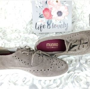 MB Munro Lace-Up Almond Suede Cut Out Oxford Shoes